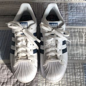 White and Blue Adidas